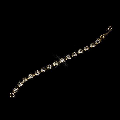"3"" Gold Fish Hook Extender 3mm Rhinestone"