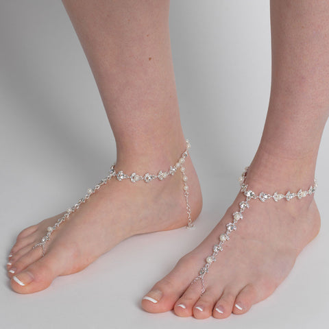 Silver Ivory Pearl & Rhinestone Bridal Wedding Foot Jewelry 7