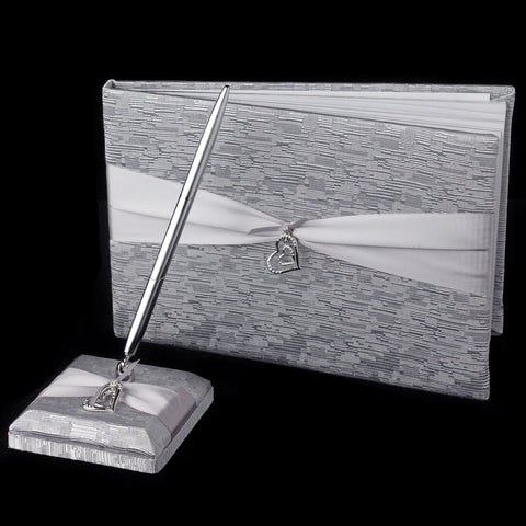 Silver Ribbon & Silver Heart Bridal Wedding Guest Book & Pen Set 722