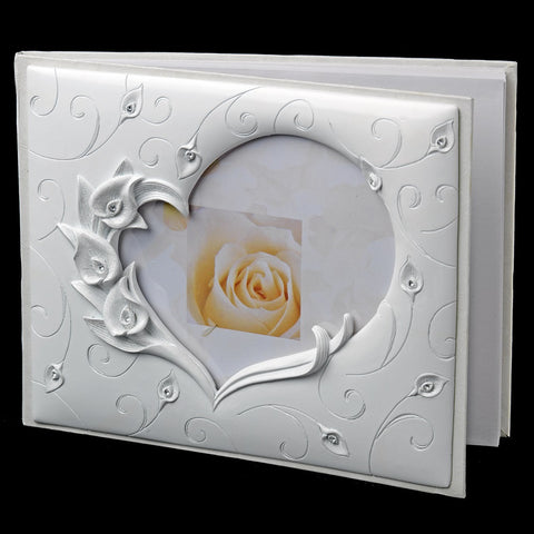Bridal Wedding Guest Book 406 Lilly Heart Poly Resin