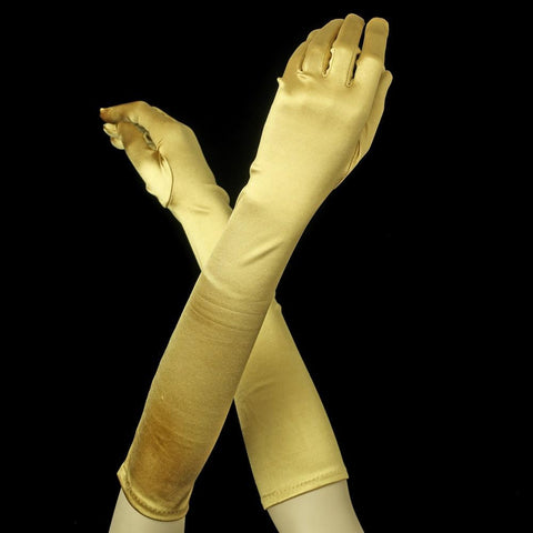 Gold Below Elbow Formal Bridal Wedding Satin Glove