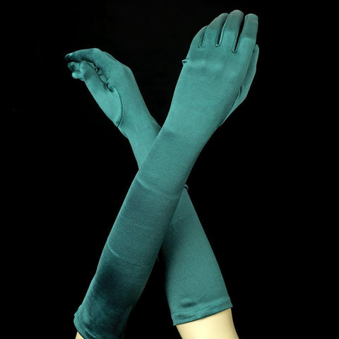 Hunter Green Elbow Formal Bridal Wedding Satin Gloves