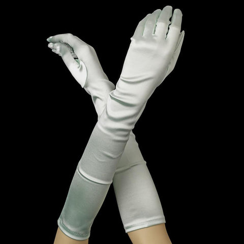 Mint Green Elbow Formal Bridal Wedding Matte Satin/Satin Gloves