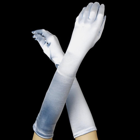 Light Blue Below Elbow Formal Bridal Wedding Satin Glove