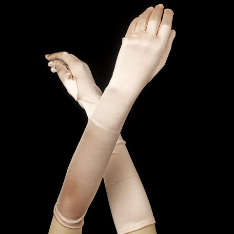 Peach Elbow Formal Bridal Wedding Satin Gloves
