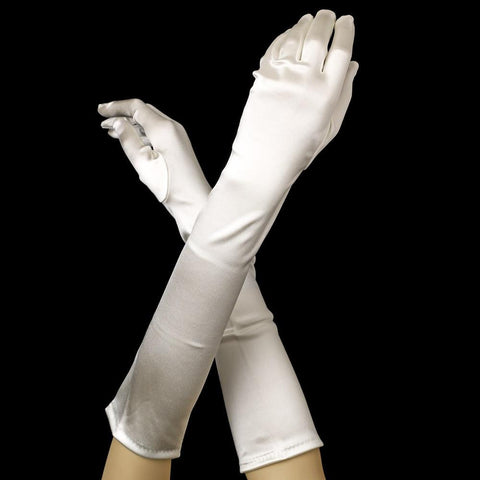 Diamond White Elbow Formal Bridal Wedding Matte Satin/Satin Gloves