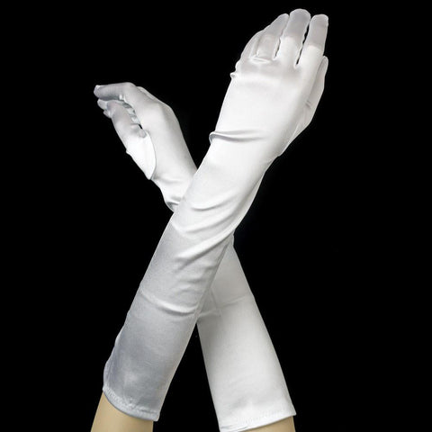 White Elbow Formal Bridal Wedding Matte Satin/Satin Gloves