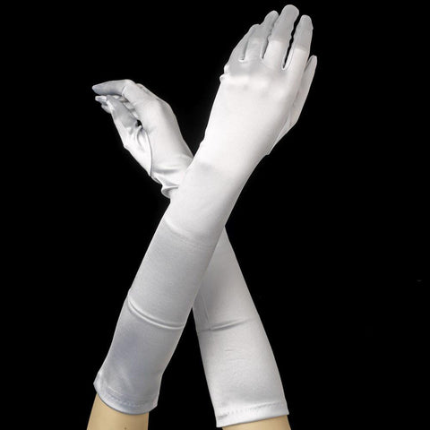 Light Silver Elbow Formal Bridal Wedding Matte Satin/Satin Gloves