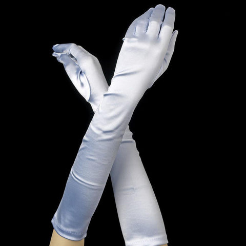 Pastel Blue Elbow Formal Bridal Wedding Satin Gloves