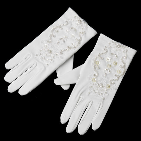 Children's Matte Gloves with Organza & Bugle Beads GL Child 207