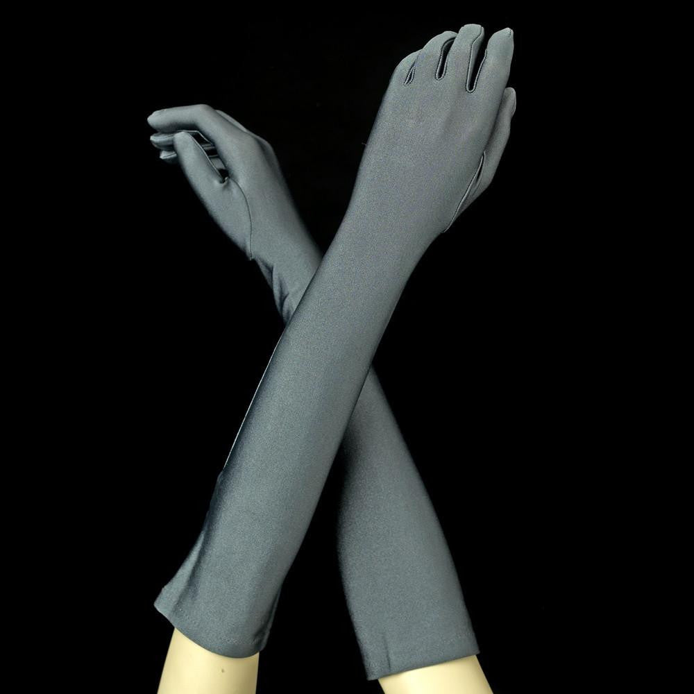 Charcoal Elbow Formal Bridal Wedding Matte Satin Gloves