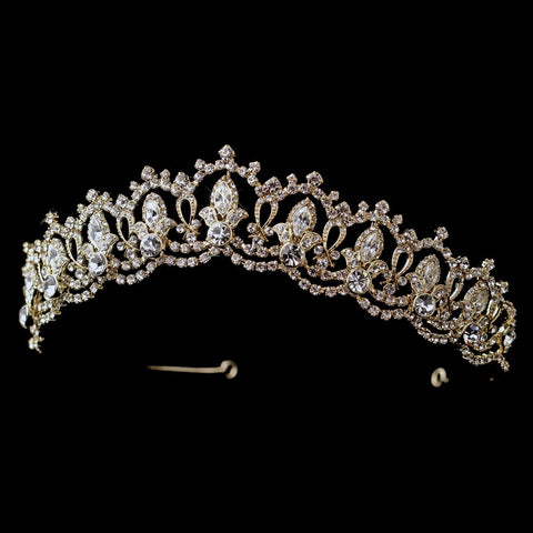 Gold Clear Rhinestone Royal Bridal Wedding Tiara Headpiece 10575