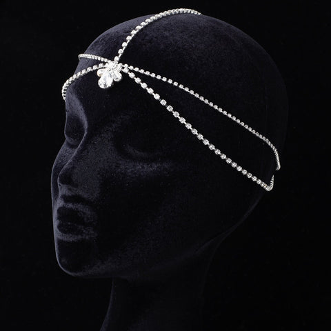 Kim Kardashian Inspired Forehead Chain Teardrop Rhinestone Bridal Wedding Headband 1865