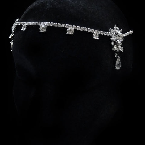 "Antique Rhodium Silver Clear CZ Crystal & Rhinestone ""Kim Kardashian Inspired"" Forehead Headpiece 1868"
