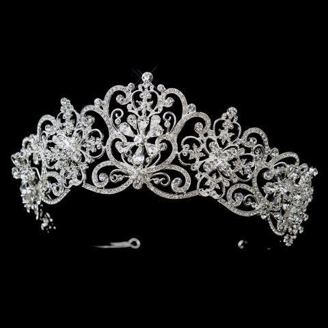 Silver Clear Rhinestone Floral Bridal Wedding Royal Bridal Wedding Tiara Headpiece 18693
