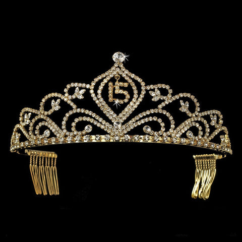Vintage Rhinestone Sweet 15 Quinceanera Bridal Wedding Tiara in Gold 242