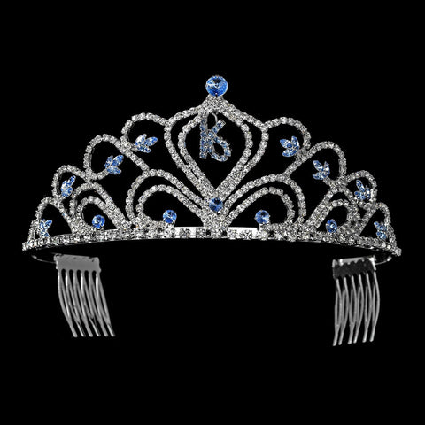 Sparkling Vintage Blue Rhinestone Sweet 16 Bridal Wedding Tiara in Silver 242