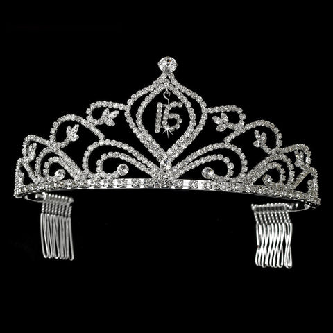 Sparkling Vintage Rhinestone Sweet 16 Bridal Wedding Tiara in Silver 242