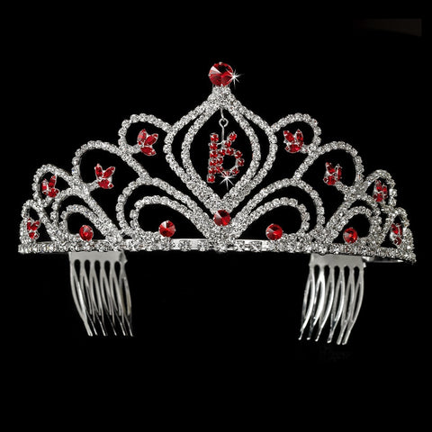 Sparkling Vintage Red Rhinestone Sweet 16 Bridal Wedding Tiara in Silver 242