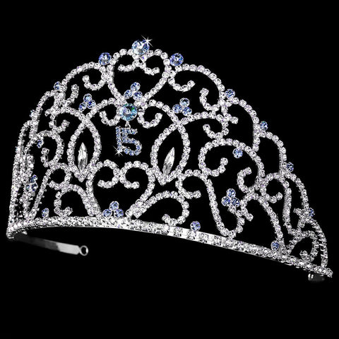 Royal Sweet 15 Quinceanera Silver Headpiece Covered in Clear & Light Blue Rhinestones 251