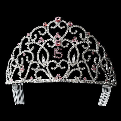 Royal Sweet 15 Quinceanera Silver Headpiece Covered in Clear & Pink Rhinestones 251
