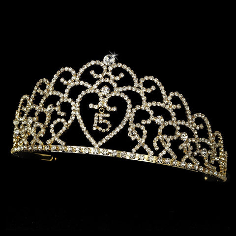 Glistening Quinceanera Sweet 15 or 16 Princess Bridal Wedding Tiara in Gold 252