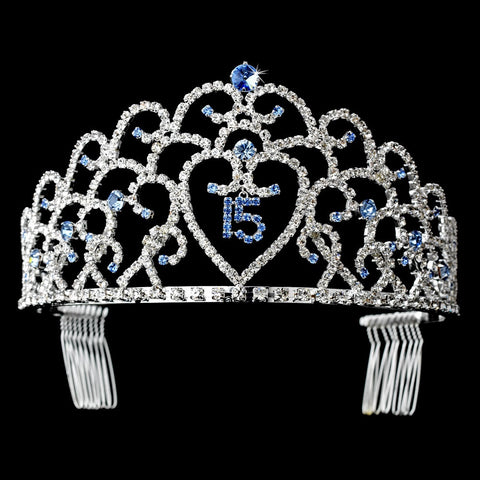 Glistening Quinceanera Sweet 15 Light Blue & Amethyst Stones Princess Bridal Wedding Tiara in Silver 252