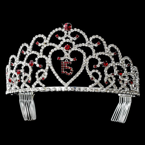 Glistening Quinceanera Sweet 15 Red Princess Bridal Wedding Tiara in Silver 252
