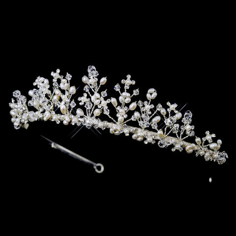 * Silver Swarovski Crystal Bead & Freshwater Pearl Bridal Wedding Tiara Headpiece 2708