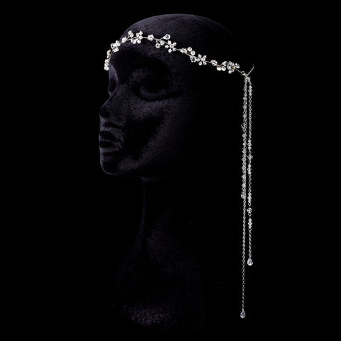 Rhodium Clear Rhinestone & Crystal Forehead Bohemian Jewelry Headpiece
