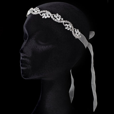 Sheer Ivory Ribbon Flexible Bridal Wedding Headband with Rhinestones 3478