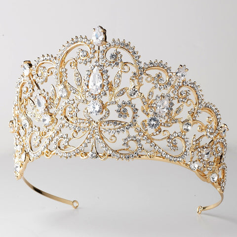 Gold Clear Rhinestone & Center CZ Crystal Royal Princess Bridal Wedding Tiara Headpiece 394