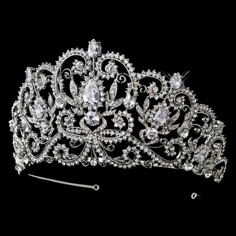 * Antique Silver Clear Rhinestone & Center CZ Crystal Royal Princess Bridal Wedding Tiara Headpiece 394