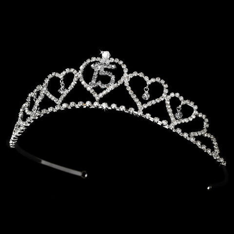 Sweet 15 Quinceanera Rhinestone Covered Bridal Wedding Tiara 460 in Silver (Available in Many Colors)