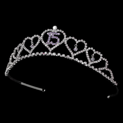 Sweet 15 Quinceanera Bridal Wedding Tiara Covered in Clear & Lavender Rhinestones 460