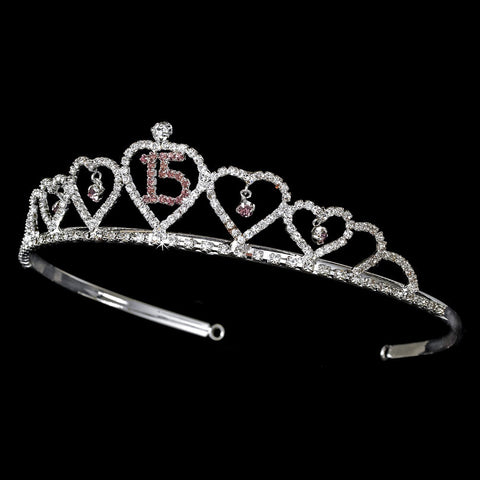 Sweet 15 Quinceanera Bridal Wedding Tiara Covered in Clear & Pink Rhinestones 460
