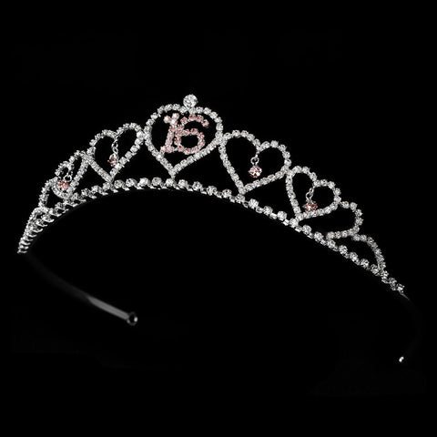 Sweet 16 Silver Plated Bridal Wedding Tiara Covered in Clear & Pink Rhinestones 460