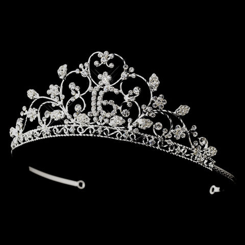 Shimmering Sweet 16 Clear Rhinestone Bridal Wedding Tiara in Silver 466