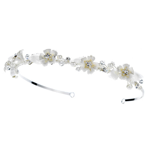 Ivory Pearl & Rhinestone Flower Bridal Wedding Headband 485
