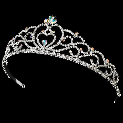 Regal Rhinestone Heart Princess Bridal Wedding Tiara in Silver AB with Heart Accent 516