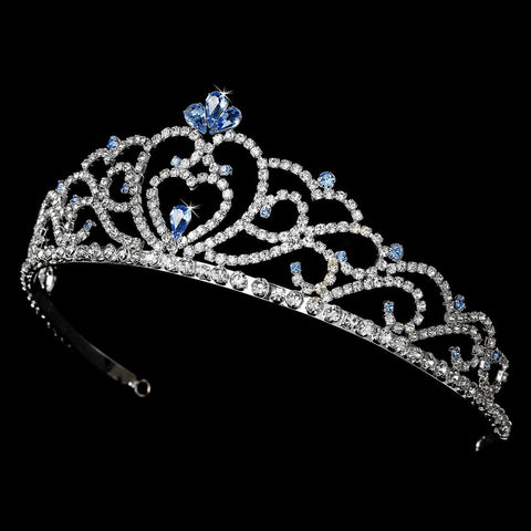 Regal Rhinestone Heart Princess Bridal Wedding Tiara in Silver with Light Blue Accents 516