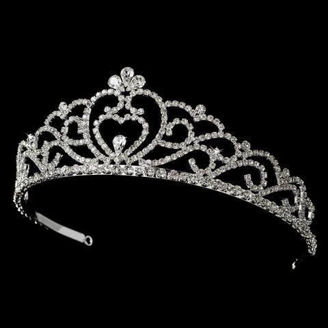 Regal Rhinestone Heart Princess Bridal Wedding Tiara in Silver with Heart Accent 516