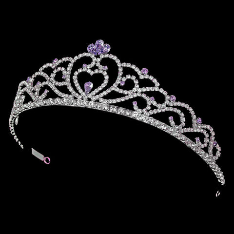 Regal Rhinestone Heart Princess Bridal Wedding Tiara in Silver with Light Amethyst Accents 516