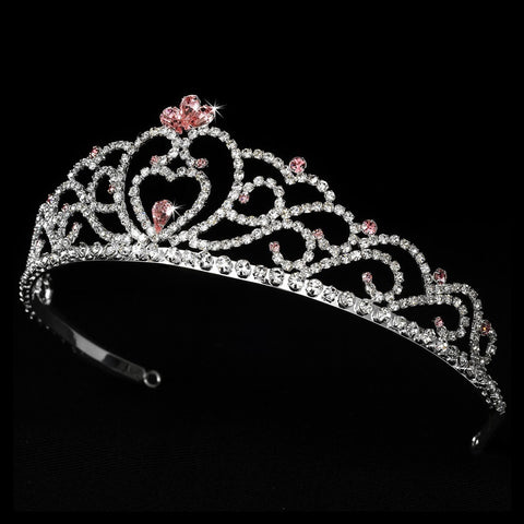 Regal Rhinestone Heart Princess Bridal Wedding Tiara in Silver with Pink Accents 516