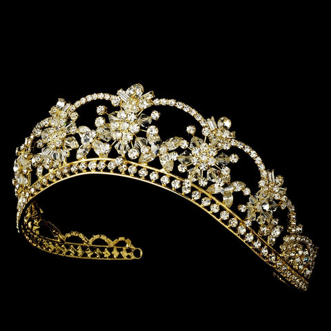 Sparkling Rhinestone & Swarovski Crystal Covered Bridal Wedding Tiara in Gold HP 523