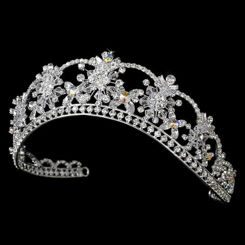 Sparkling Rhinestone & Swarovski Crystal Covered Bridal Wedding Tiara with AB Iridescent Accents in Silver 523