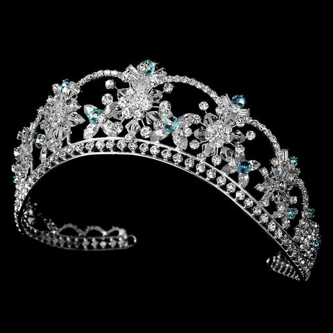 Sparkling Rhinestone & Swarovski Crystal Covered Bridal Wedding Tiara with Aqua Accents in Silver 523