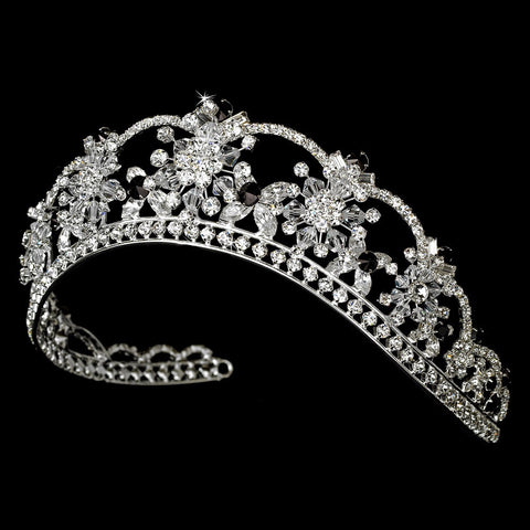 Sparkling Rhinestone & Swarovski Crystal Covered Bridal Wedding Tiara with Black Accents in Silver 523