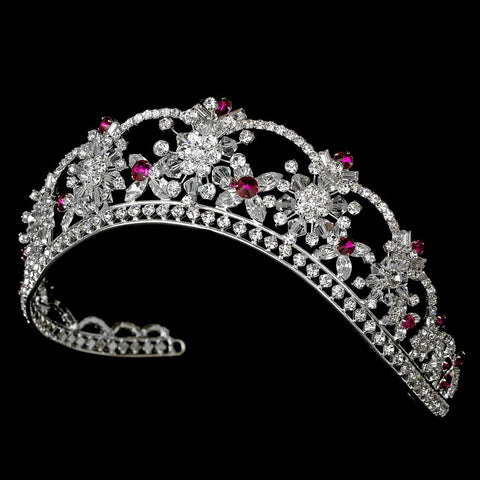 Sparkling Rhinestone & Swarovski Crystal Covered Bridal Wedding Tiara with Fuchsia Accents in Silver 523
