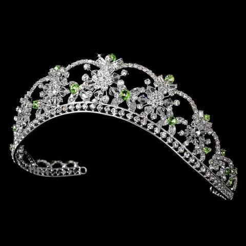 Sparkling Rhinestone & Swarovski Crystal Covered Bridal Wedding Tiara with Green Accents in Silver 523